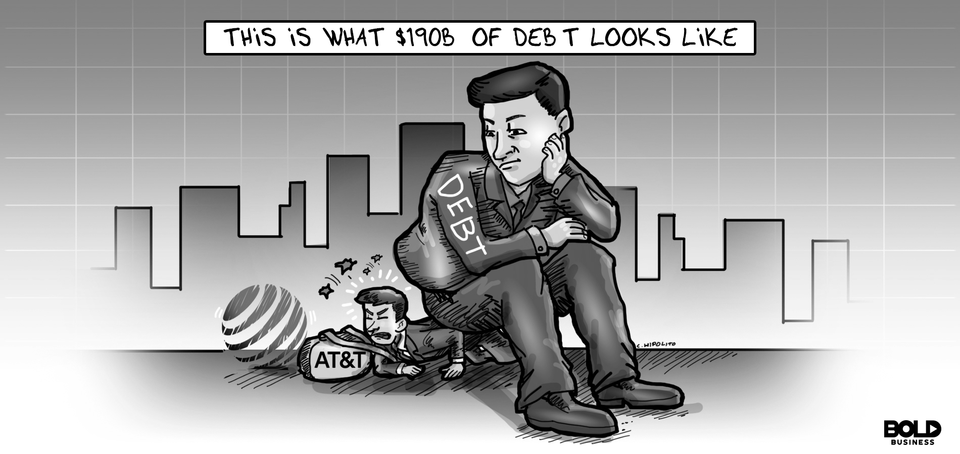 cartoon of a businessman got hit by a rock in the head is what having a business debt looks like