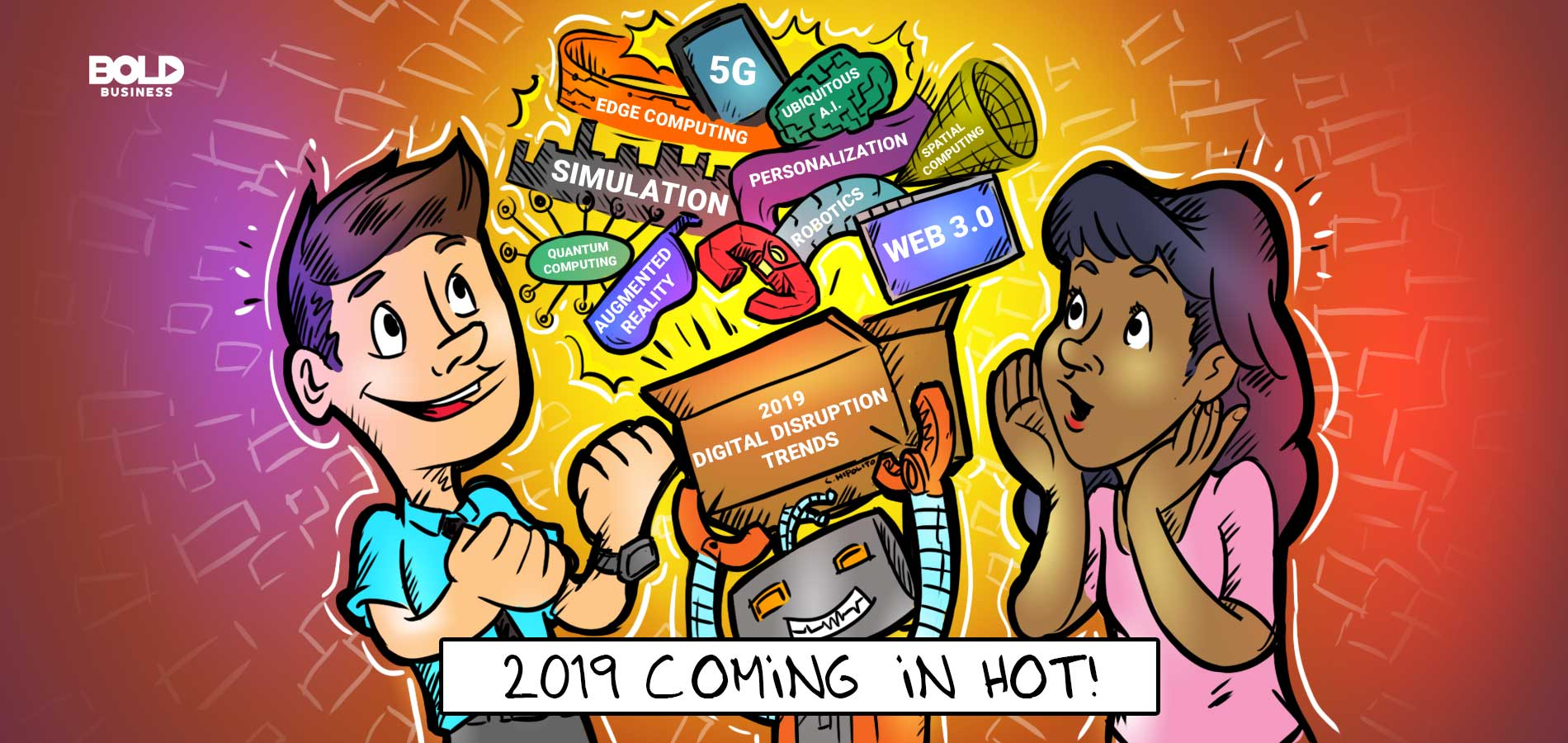 a cartoon of top 2019 business trends in different industries