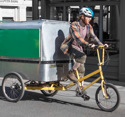 Man driving a cargo bike
