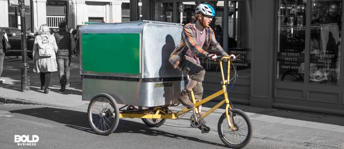 Man driving a cargo bike