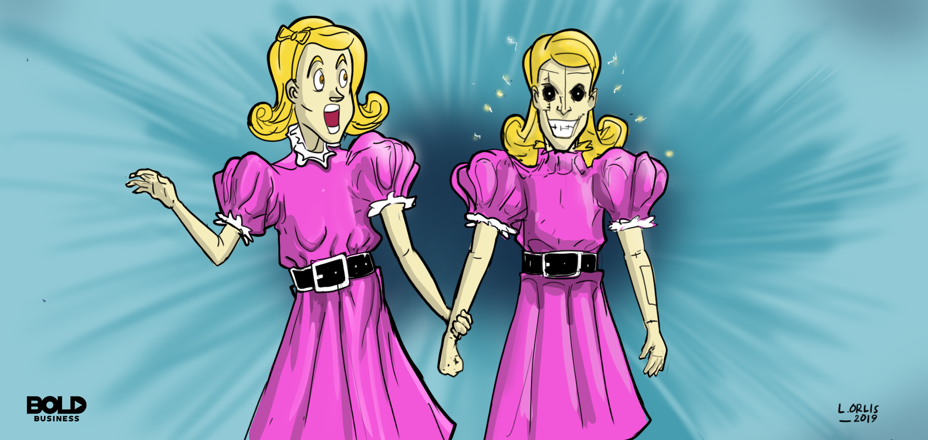 Robot clones in purple dresses