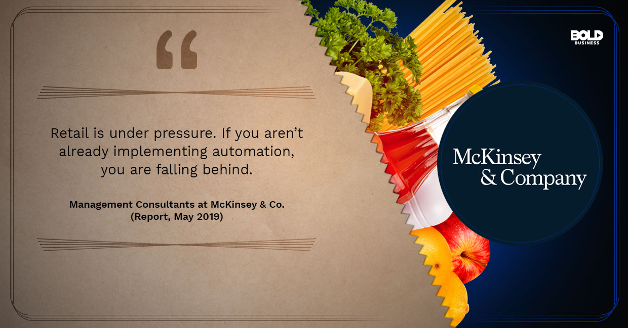 photo containing an excerpt from a report from McKinsey & Co. in relation to the topic of an automated grocery store
