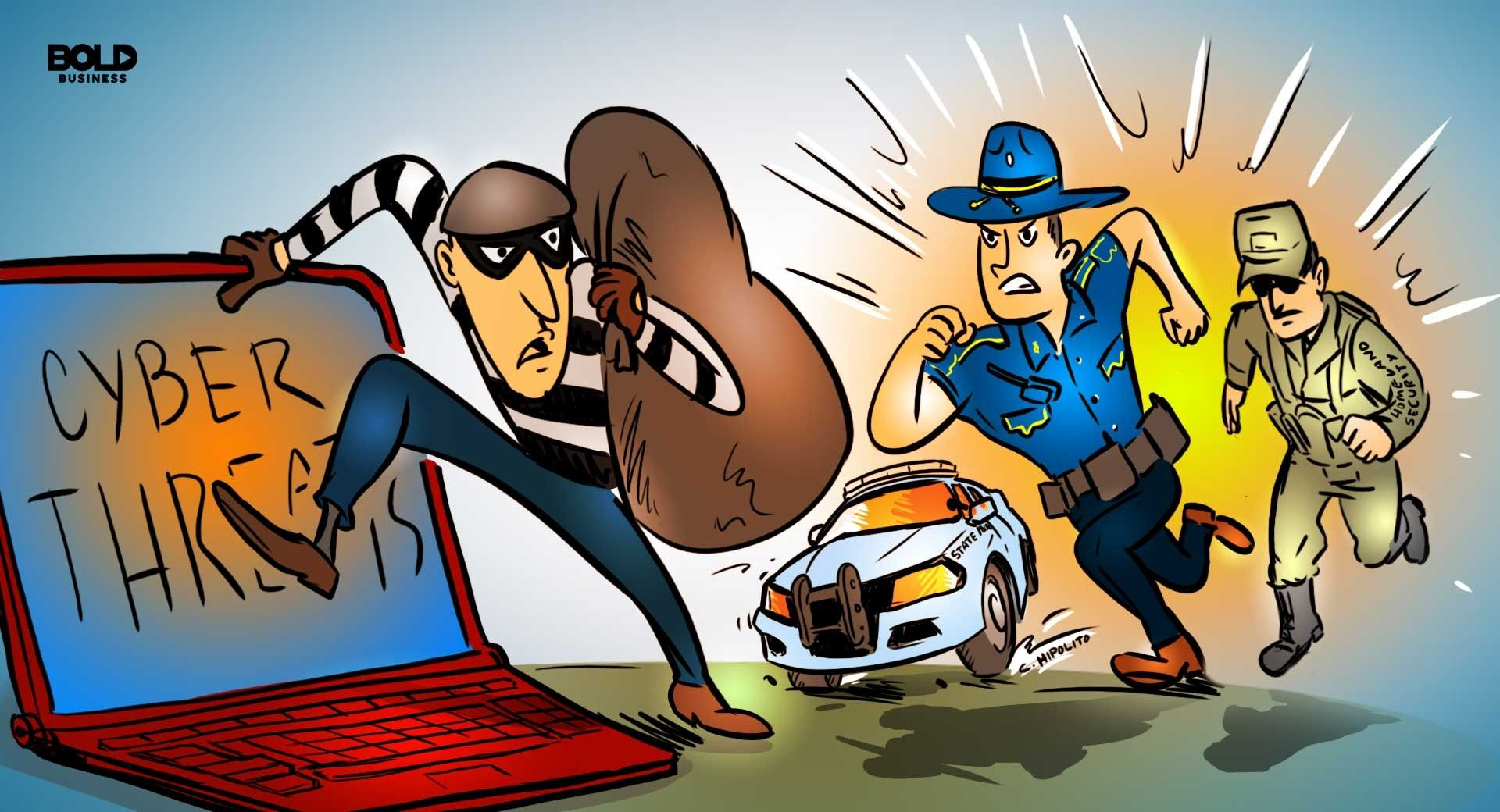 cartoon of cybersecurity culprit being chased by police officers