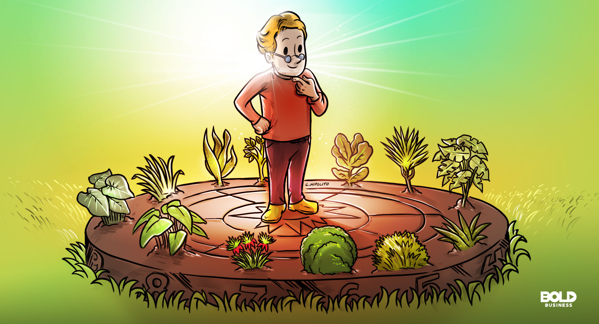cartoon of an aging man thinking about human longevity while standing on a huge sun dial surrounded by plants with telomerase