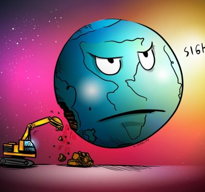 a cartoon of earth being destroyed by non-sustainable practices