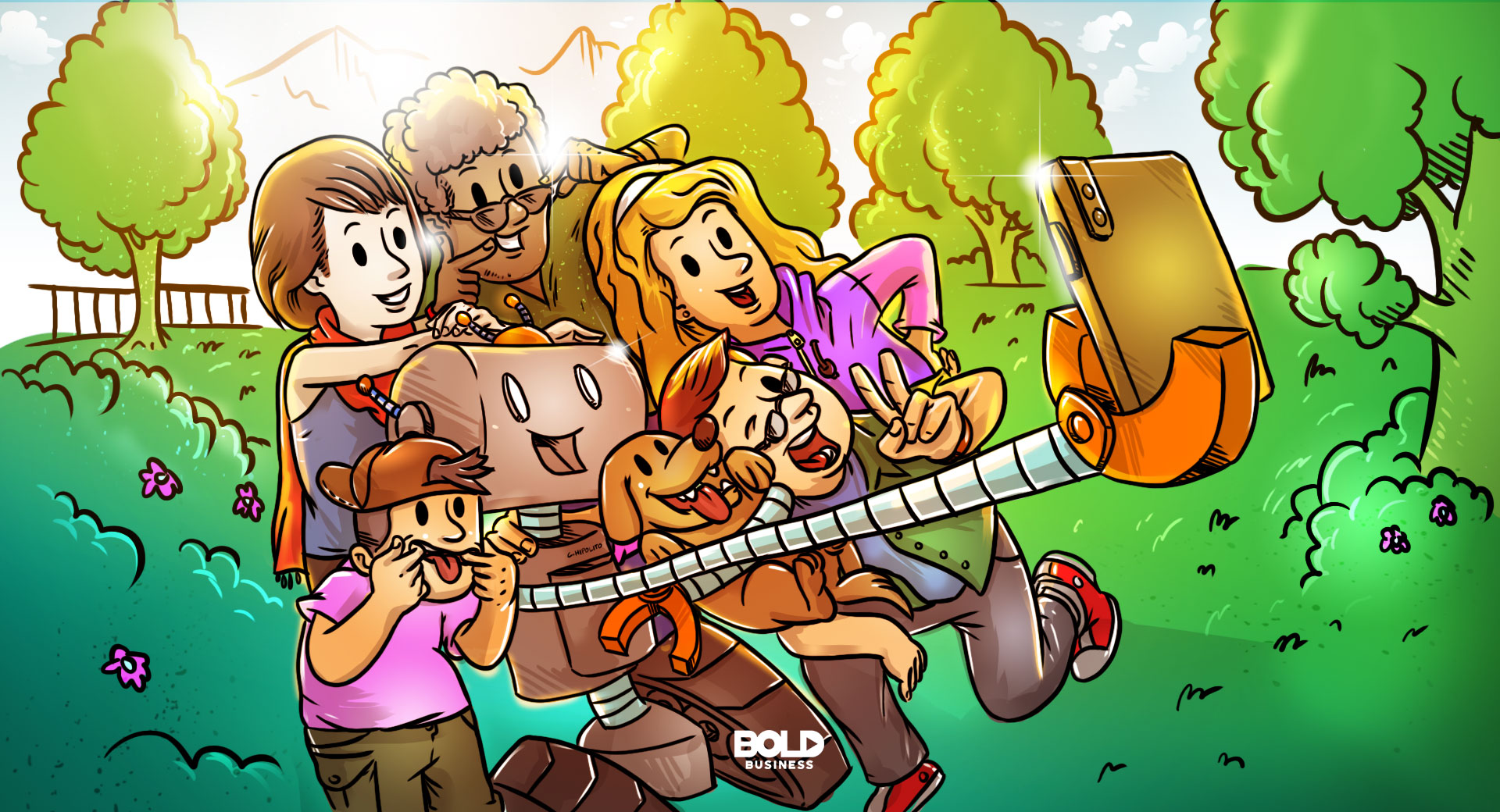 cartoon of five humans and a dog taking a selfie with an AI robot, depicting a future where humans have robots as friends