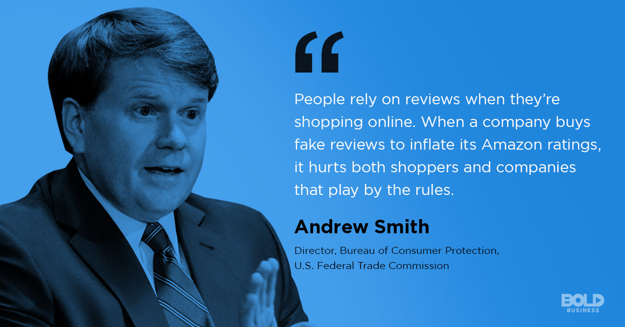 photo quote of Andrew Smith amid the issue of fake reviews online