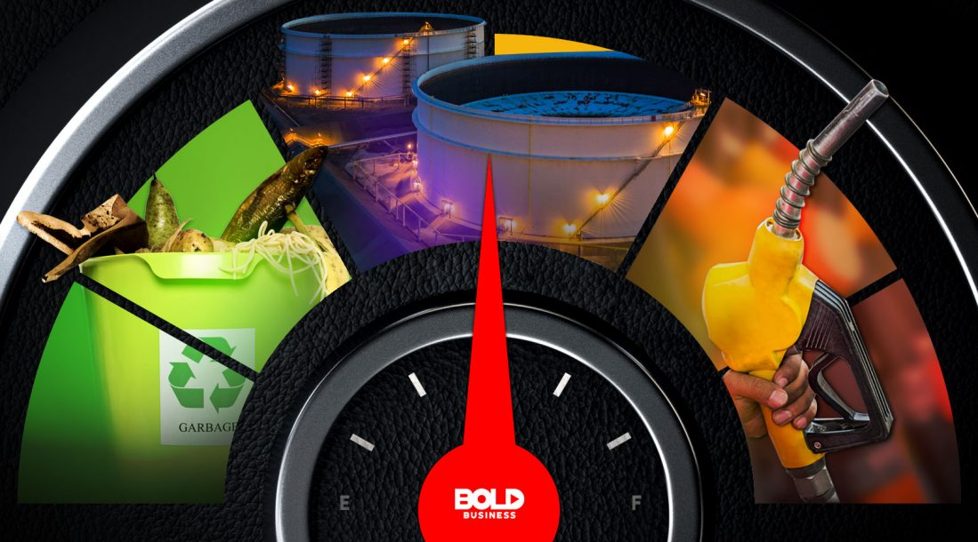 a photo of a car engine's gas tank gauge with images showing fuel made from food-recycling efforts