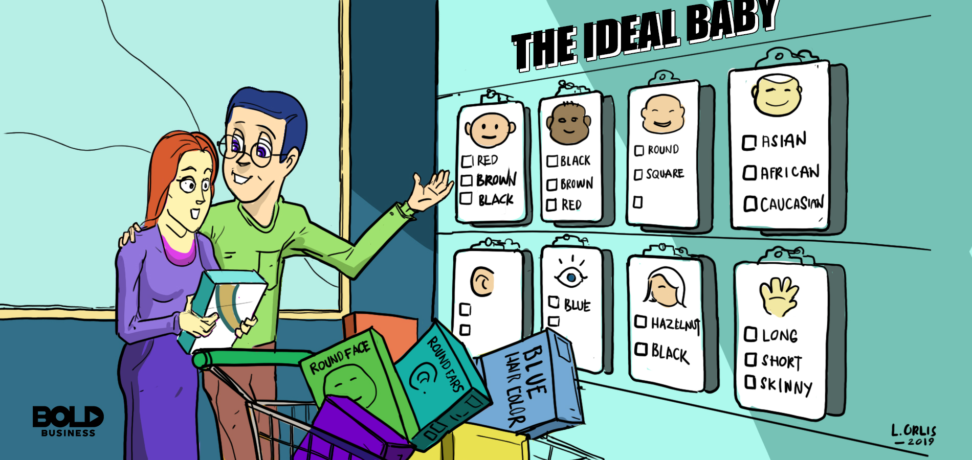 cartoon of a couple shopping for traits for The Ideal Baby posted on a wall for genetic engineering or modifying their baby