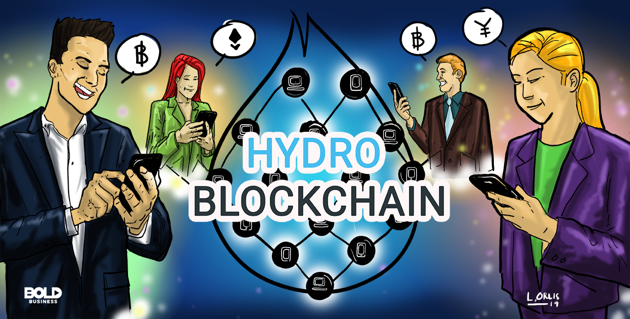 a cartoon of the different financial systems being simplified using hydro blockchain technology