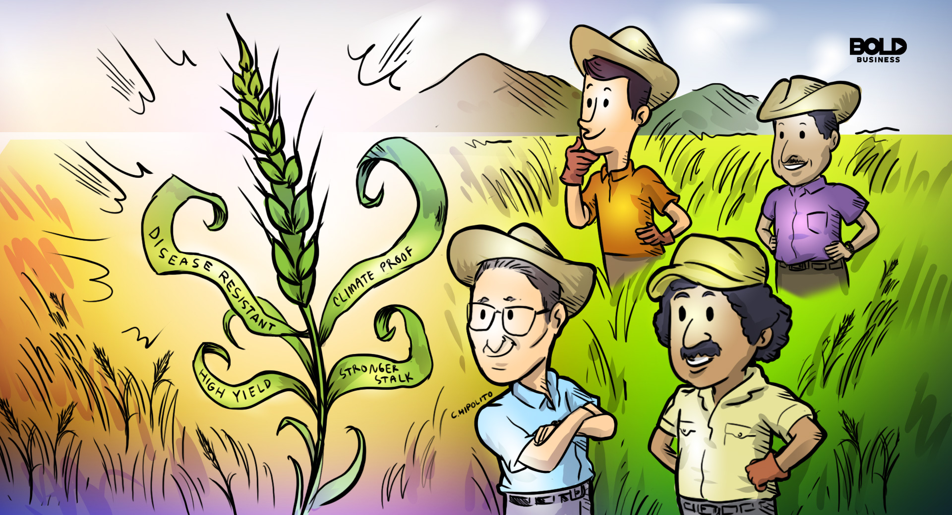 a cartoon norman borlaug's disease resistant wheat strain that has a higher yield has helped mexican farmers in 1963