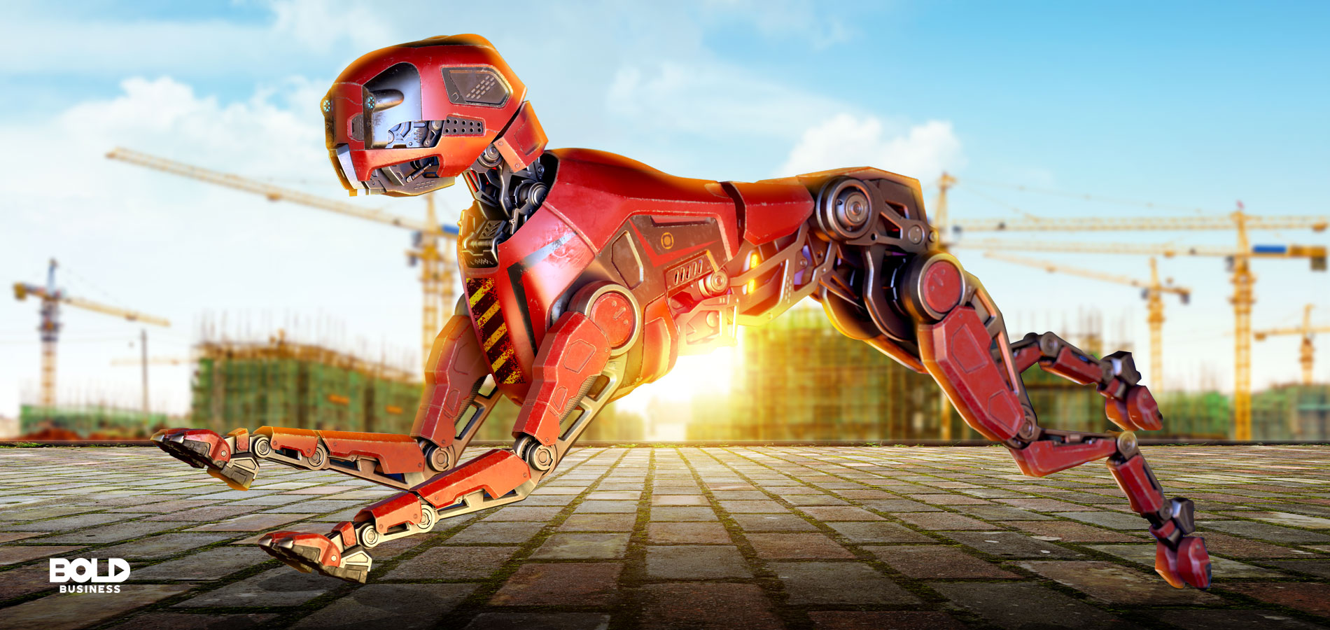 photo of a robot dog running across a field while a construction site stands in the distance and as the sun rises