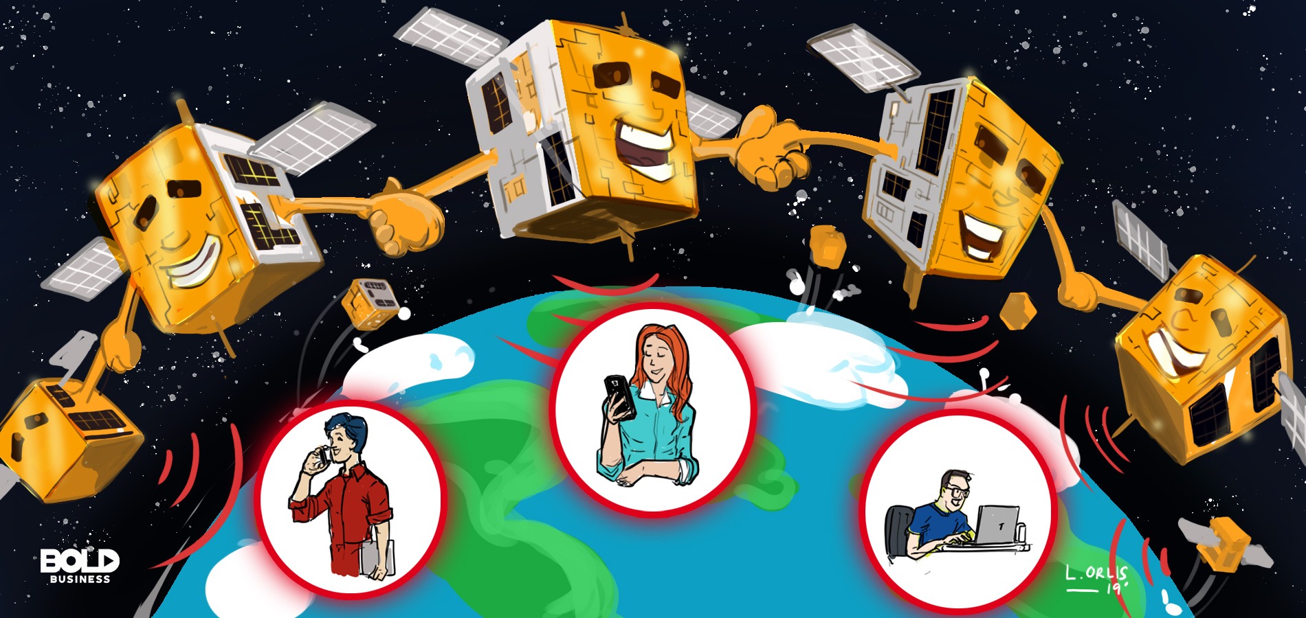 cartoon of small satellites emerging beside big satellites orbiting around the earth