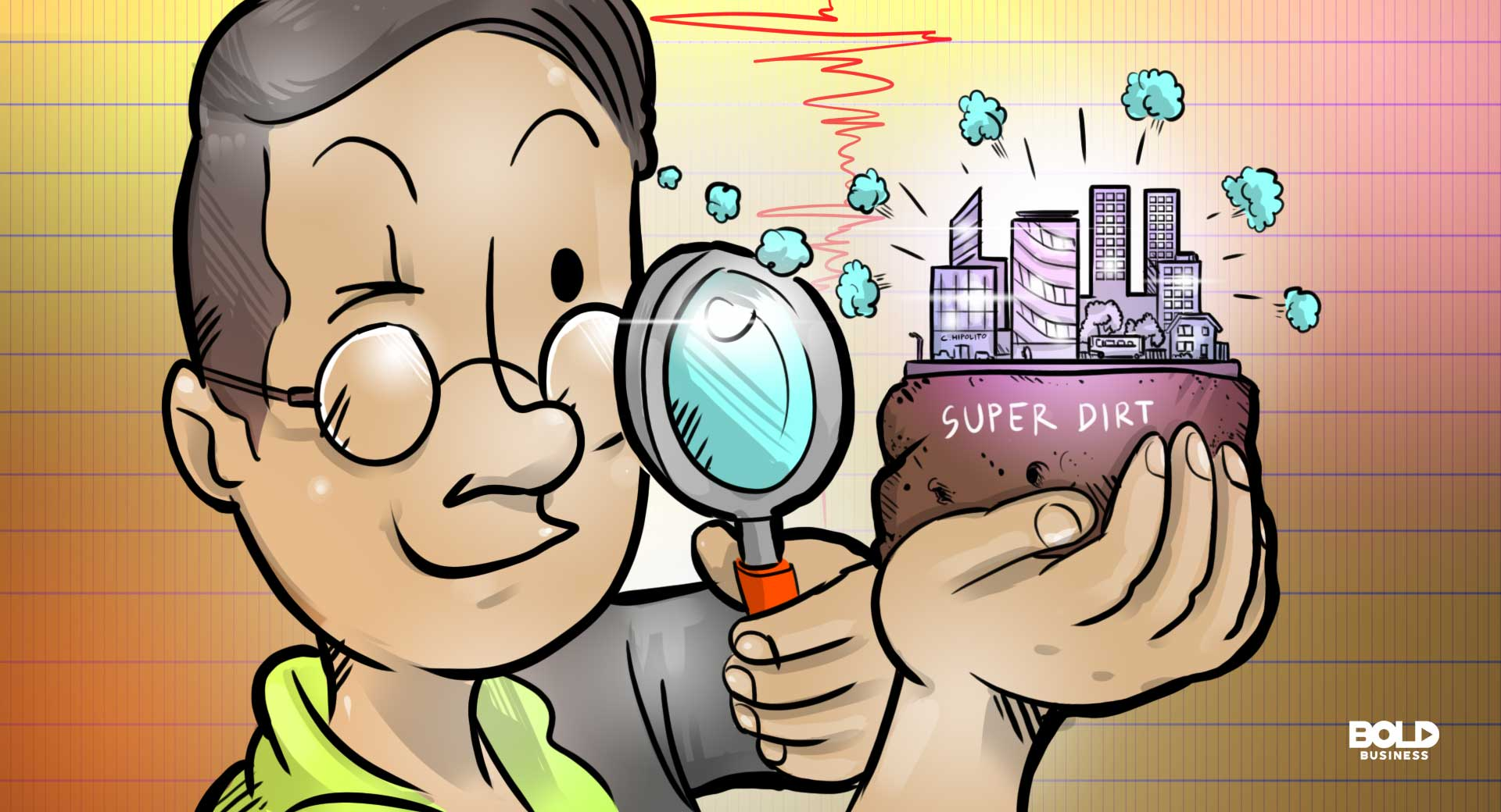 a cartoon of a scientist using super dirt to prevent soil liquefication for a more a more earthquake-resistant structures