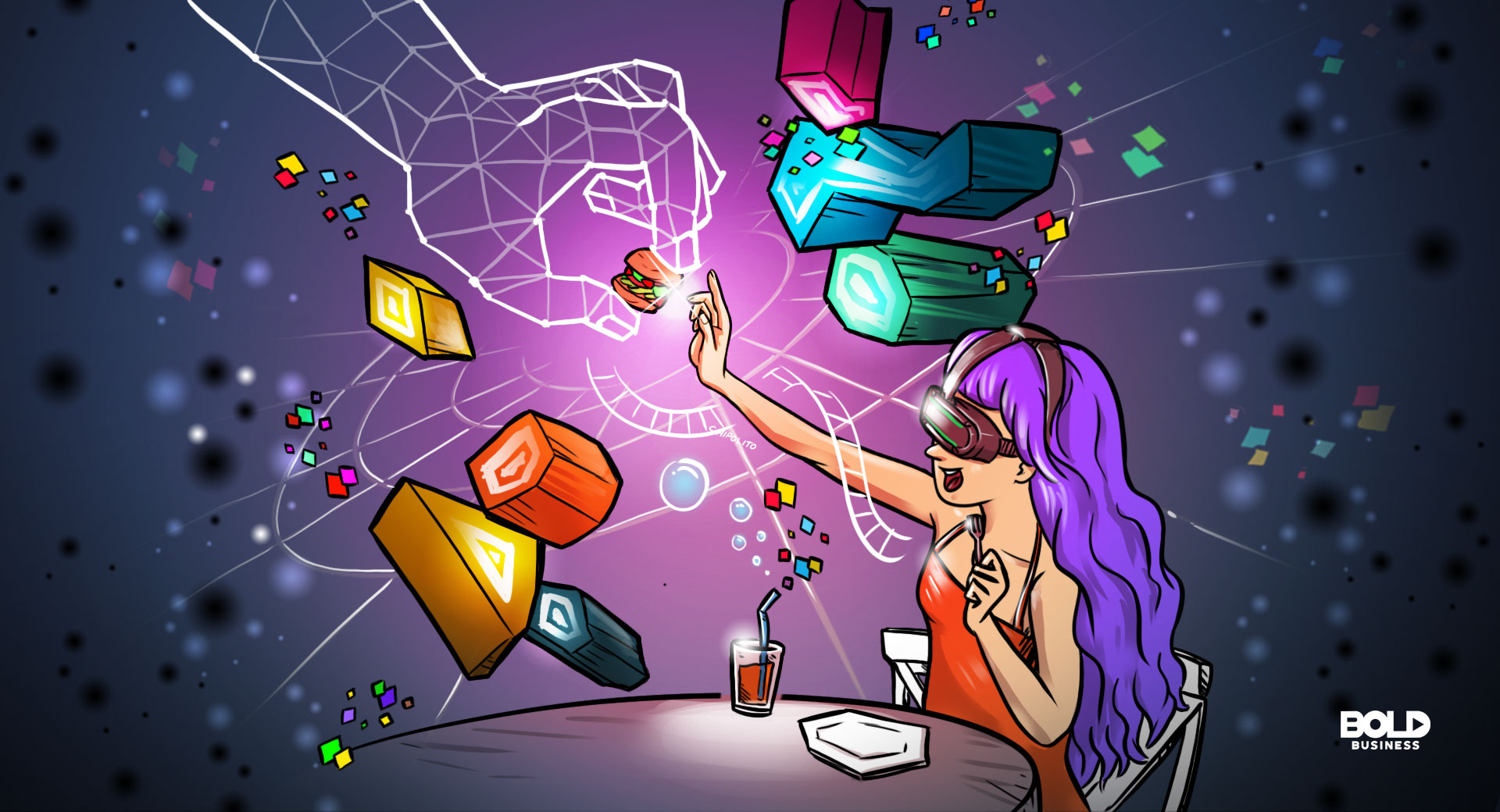 cartoon of a woman dining while wearing VR goggles amid a new restaurant concept that highlights virtual reality experience