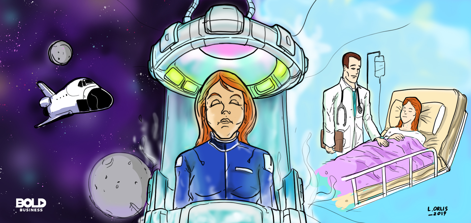cold nap, woman in a space capsule and a patient attended to by a doctor
