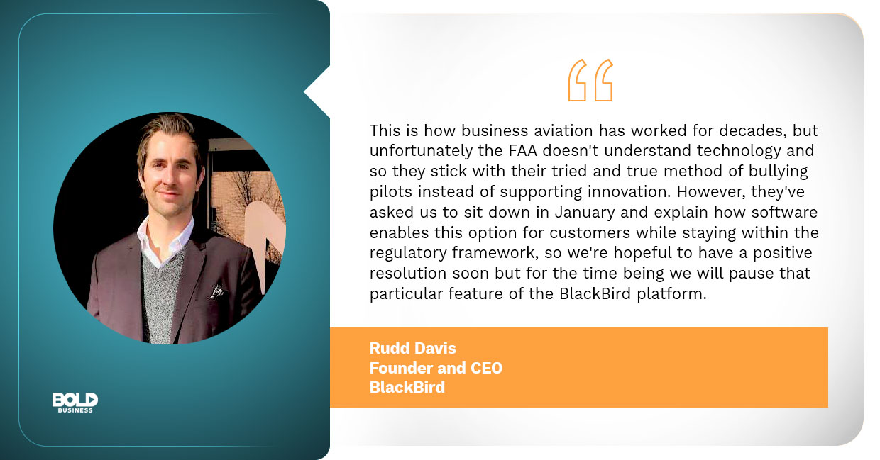 BlackBird planes, ceo and founder rudd davis qouted