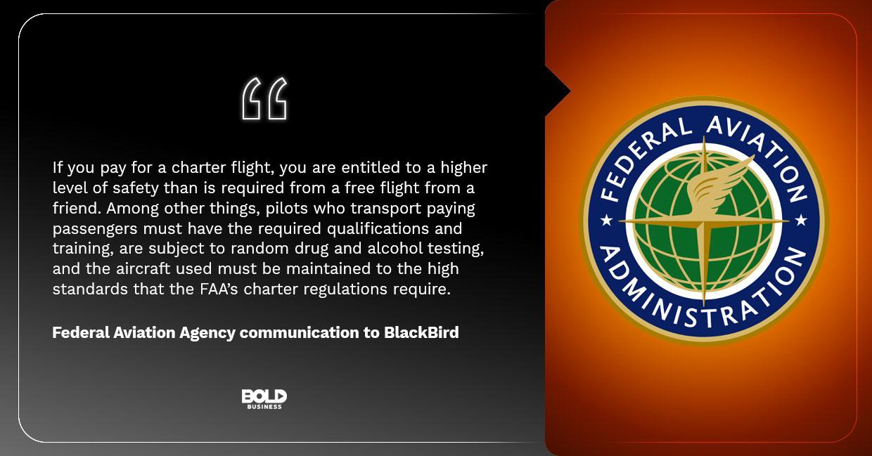 BlackBird Planes, FAA communication to BlackBird