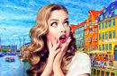 a blonde woman in shock while in front of a background of a colorful scenic painting as she hears the health benefits of art
