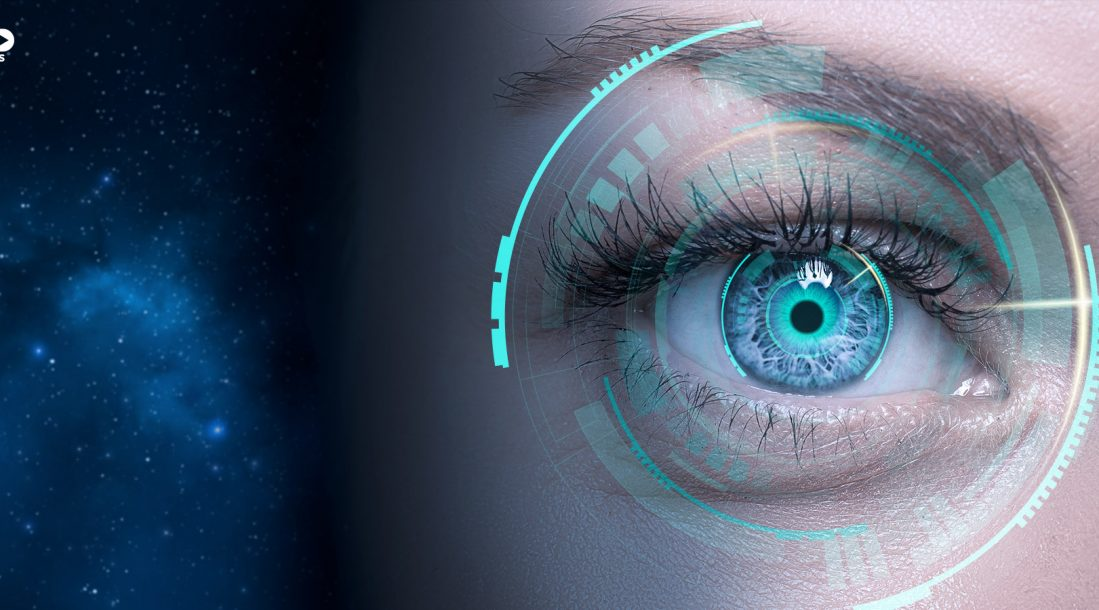 a photo of a woman's eye wearing smart contact lens beside an image of the universe