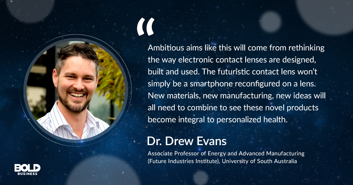 a photo quote of Drew Evans concerning the disruptive technology of smart contact lens
