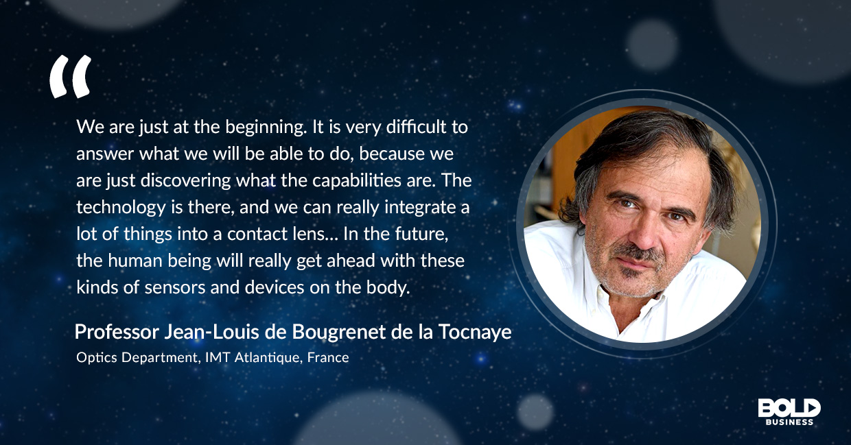 a photo quote of Jean Louis concerning the disruptive technology of smart contact lens