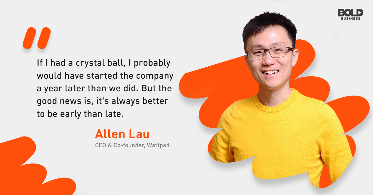 a photo quote from Allen Lau in relation to the site, Wattpad, and its Wattpad Stories