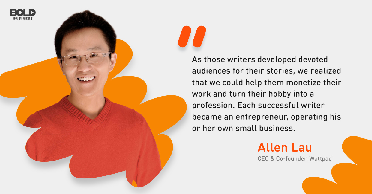 a photo quote from Allen Lau in relation to Wattpad Stories