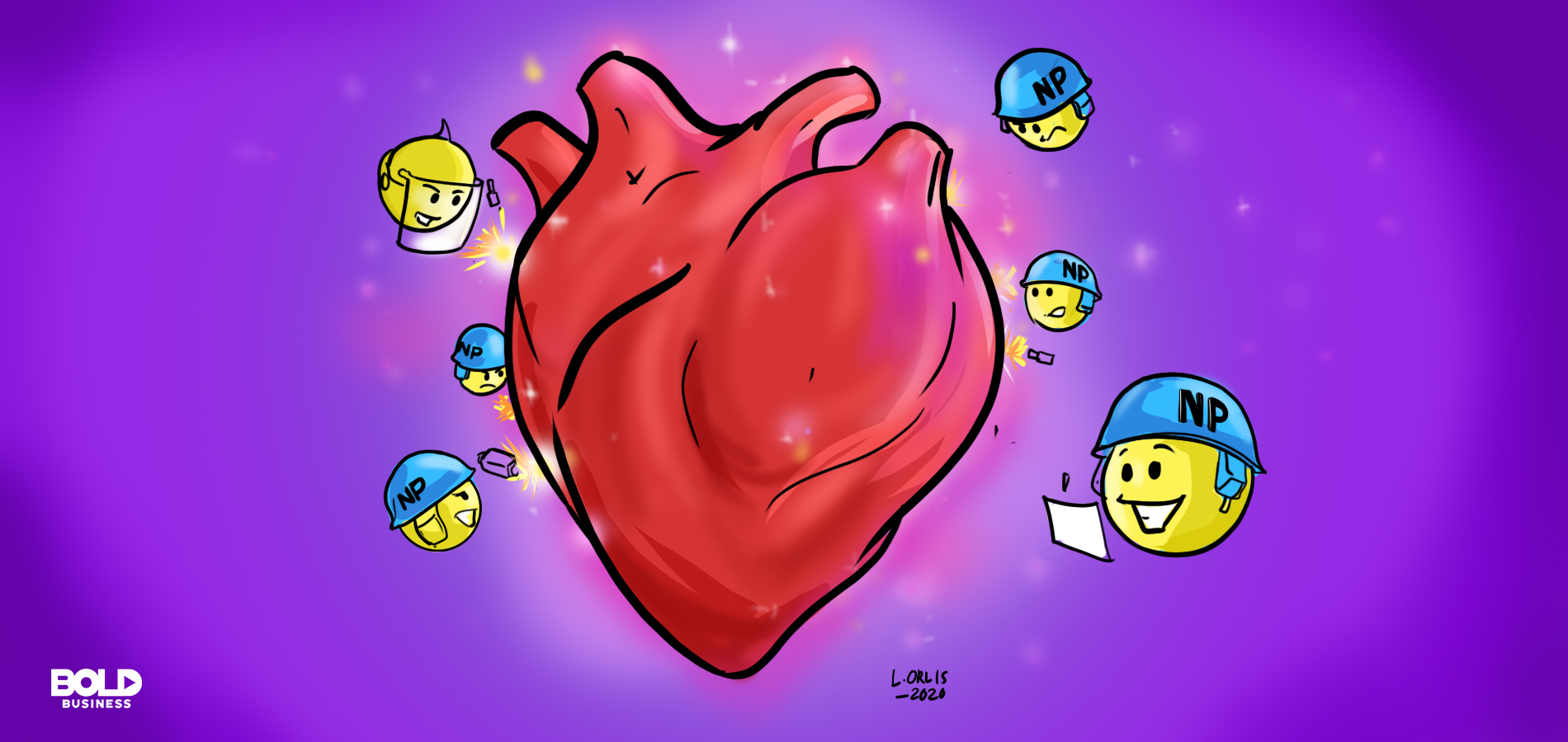 cartoon of nanoparticles surrounding a human heart as they do their biomedical therapy job of preventing a heart attack