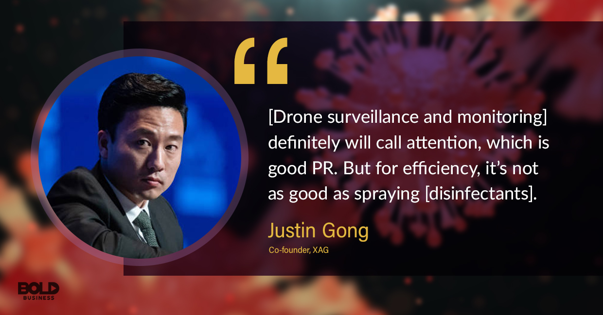photo quote of Justin Gong in relation to the use of drone technology in fighting the coronavirus infection