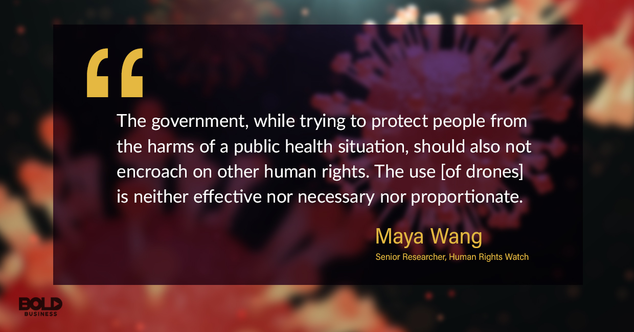 photo quote of Maya Wang in relation to the use of drone technology in fighting the coronavirus infection