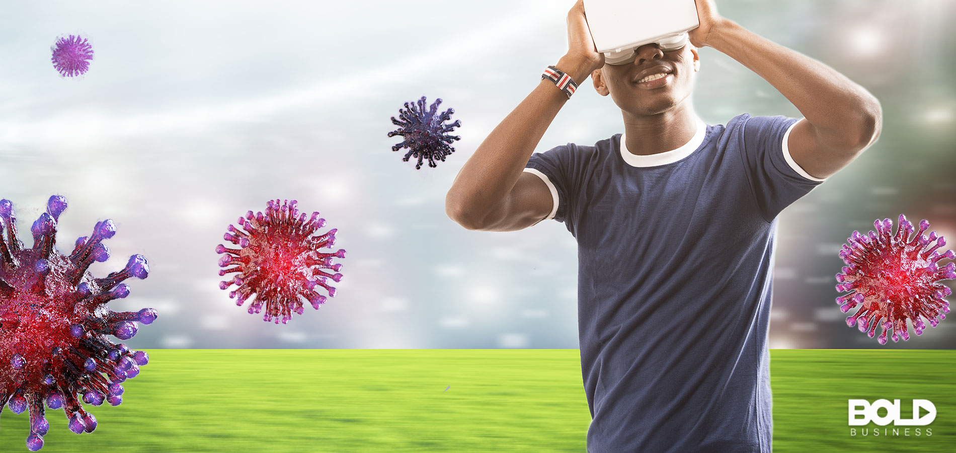Some dude using VR goggles while coronavirus hovers around him
