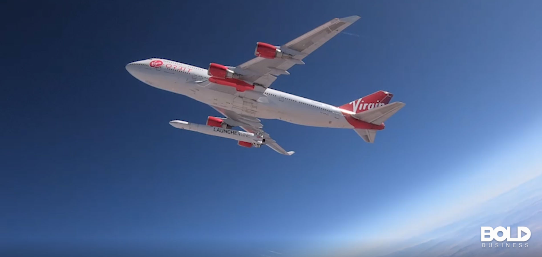 A jumbo jet with a rocket attached