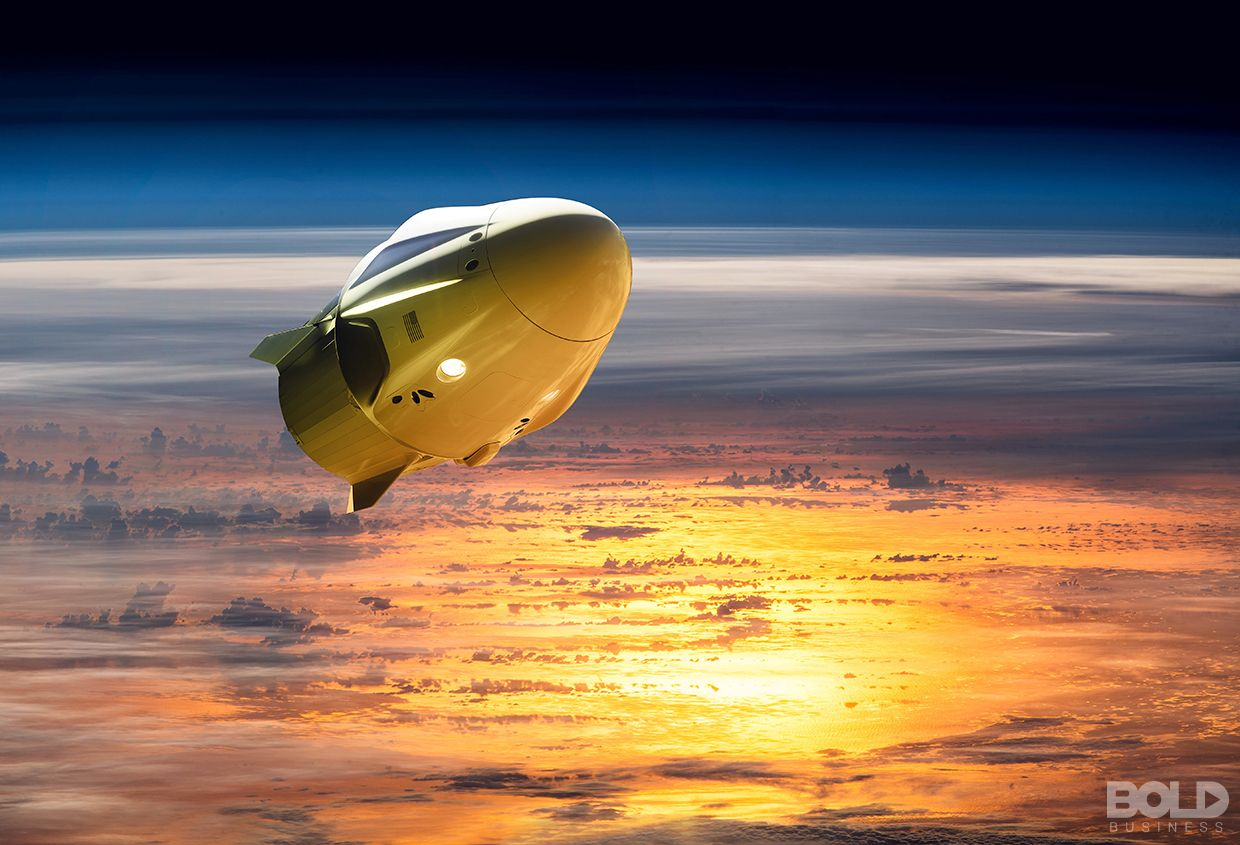 A space capsule in the upper atmosphere