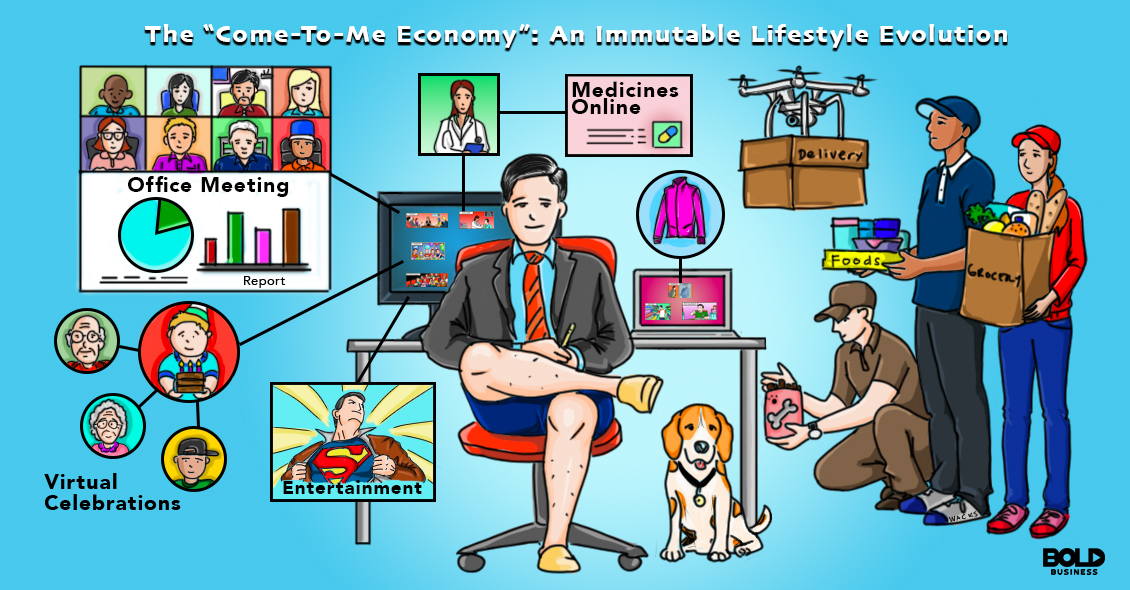 A cartoon of a dude living the Come-to-Me Economy dream