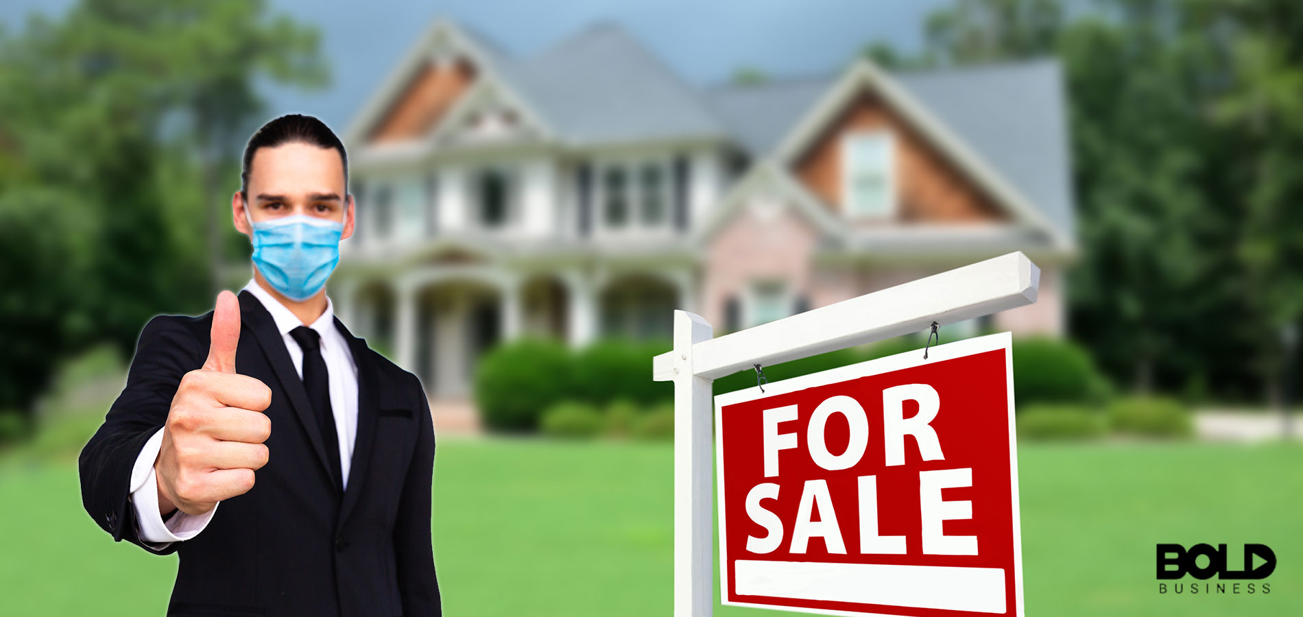 A real estate agent wearing a mask