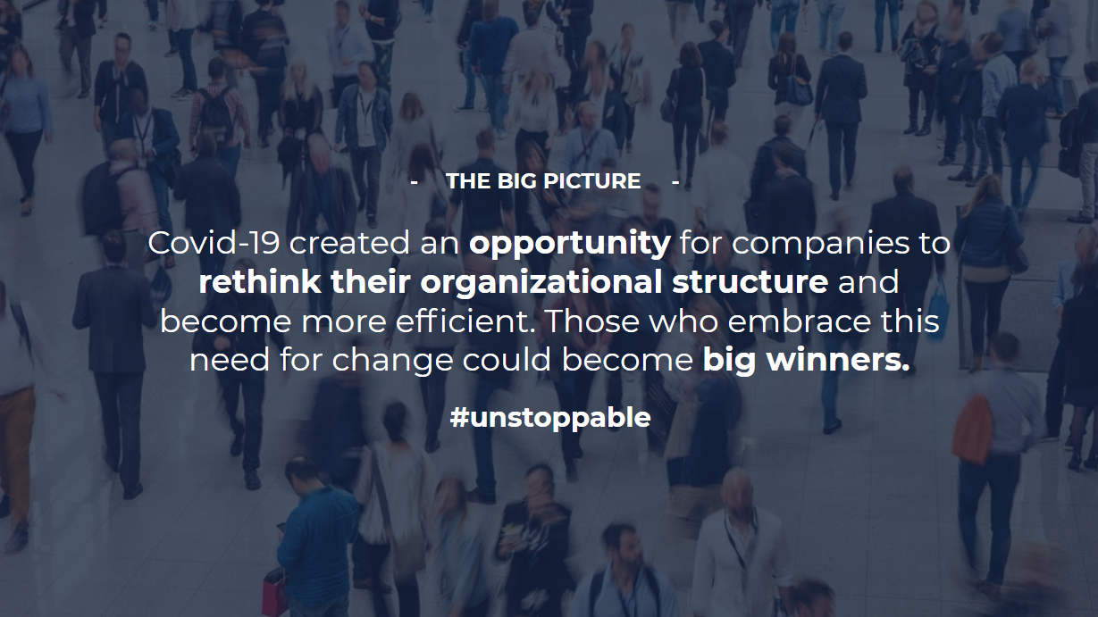 A quote about businesses rethinking organizational structure