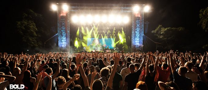 A crowd at a rock and roll concert