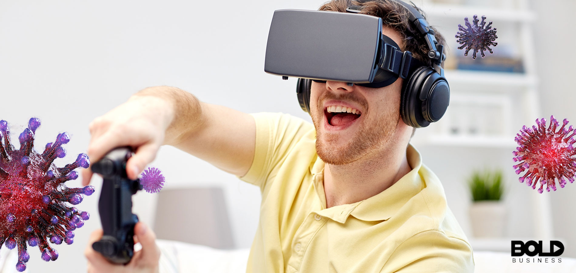 Some dude playing a virtual game in VR goggles