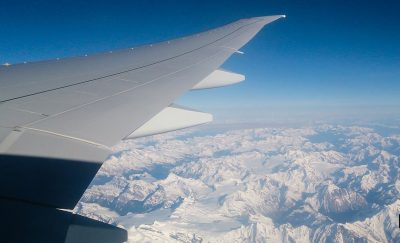 A glimpse outside the window of a high-flying plane