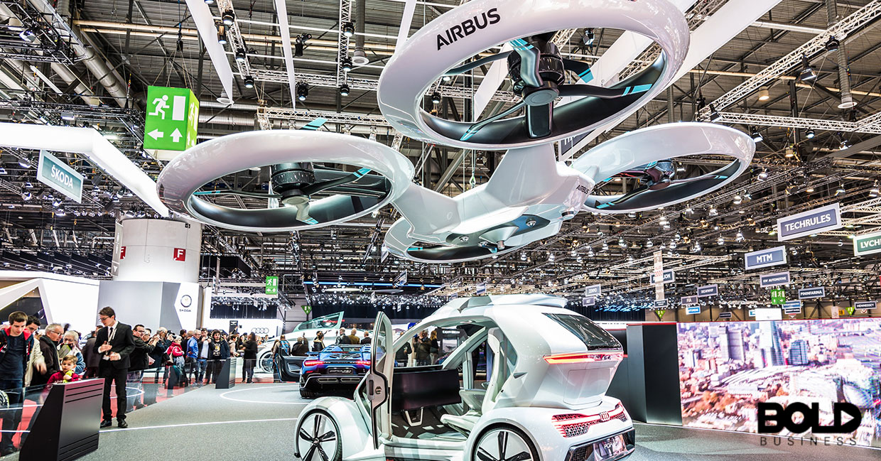 Some sort of expo with flying cars