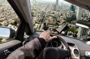 The view from a flying car, which is actually terrifying