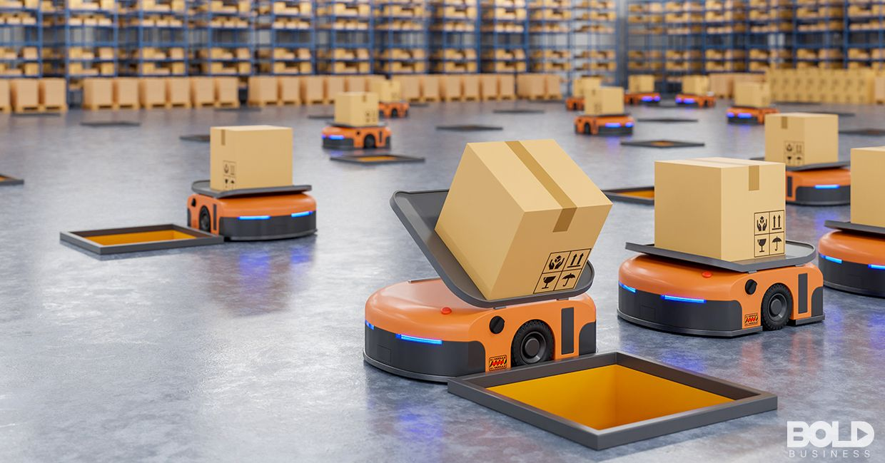 A bunch of robots handling packages in a warehouse