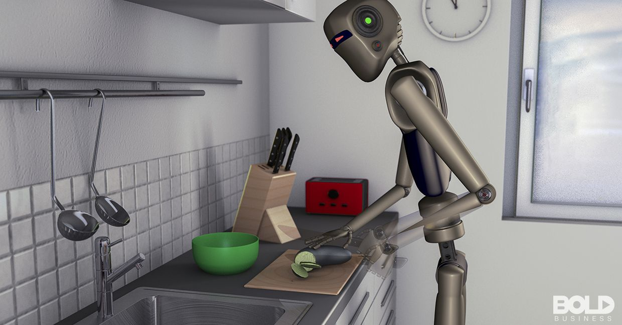 A robot preparing some food in the kitchen