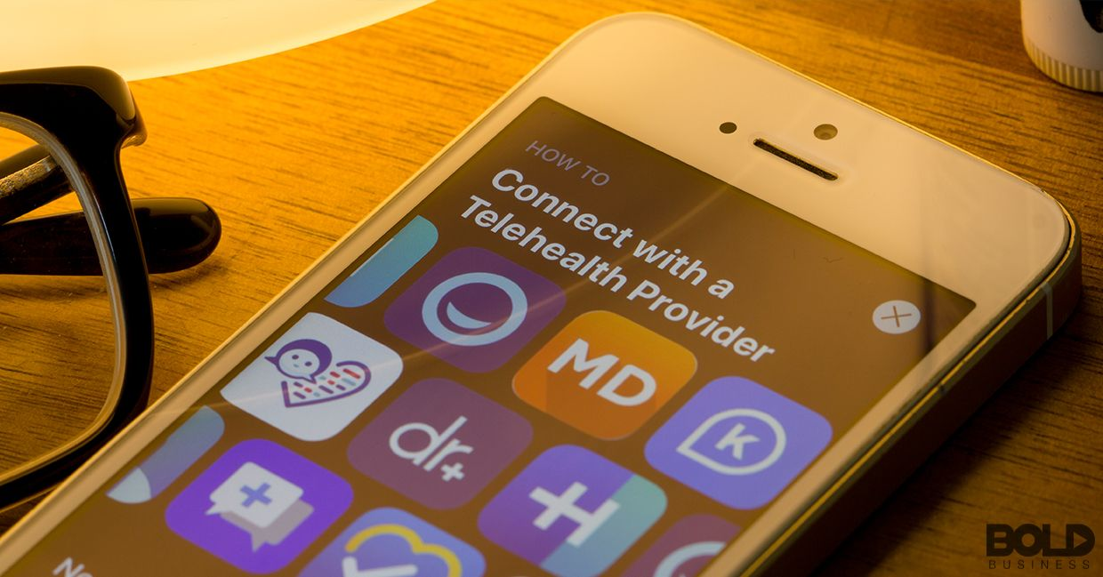 Some telehealth apps on a phone