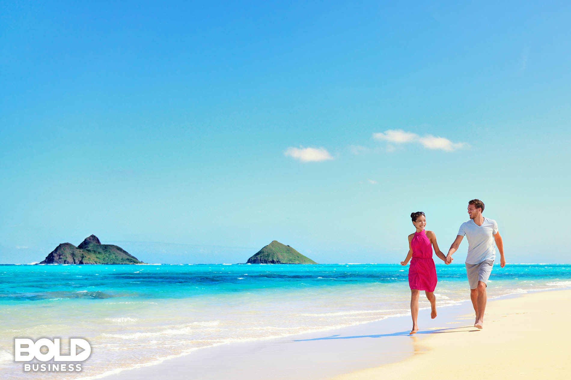 A couple on vacation on a lonely beach