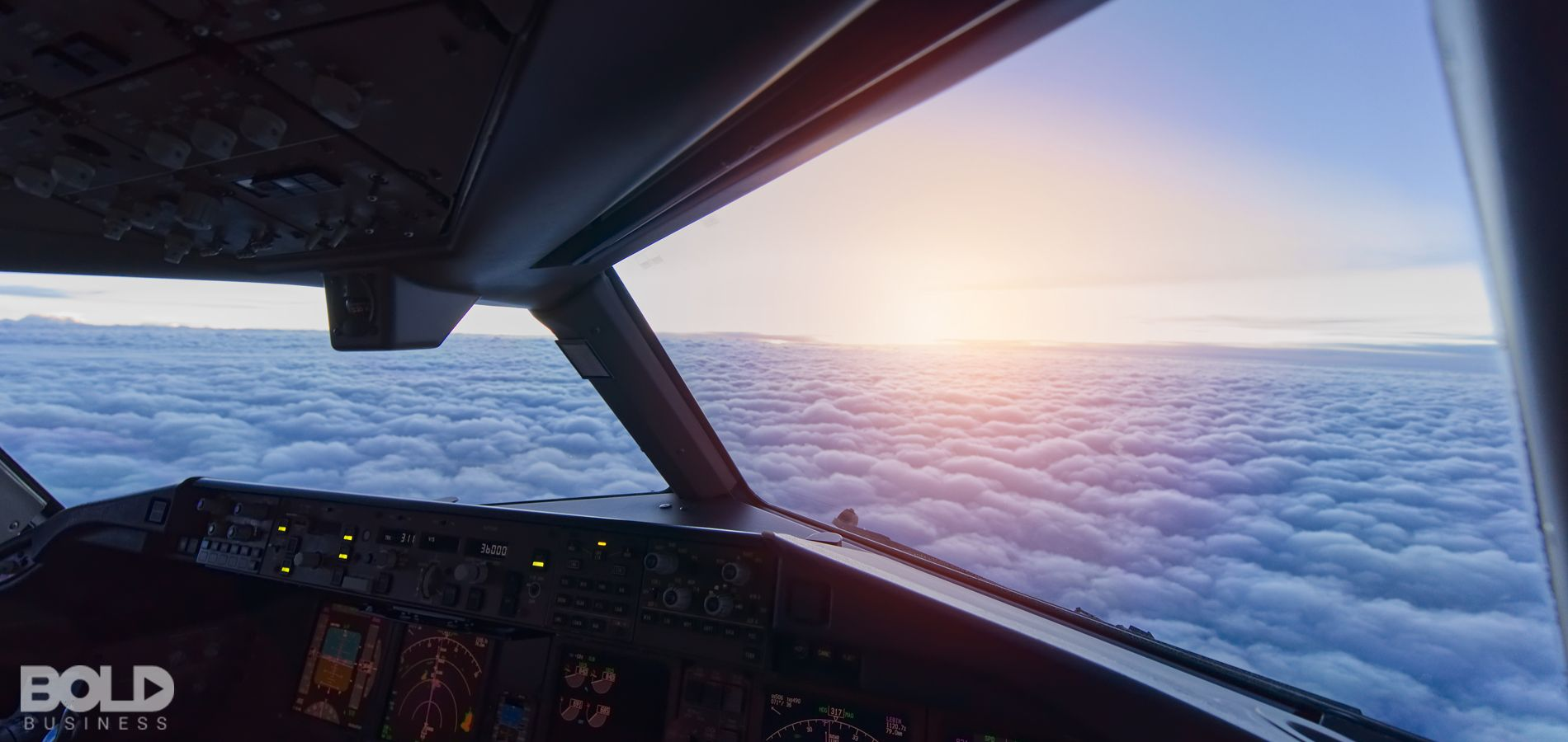 The view outside of the cockpit of a plane