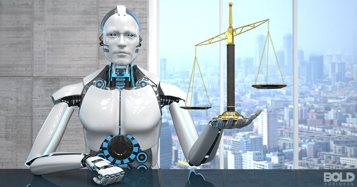A robot holding the scales of justice