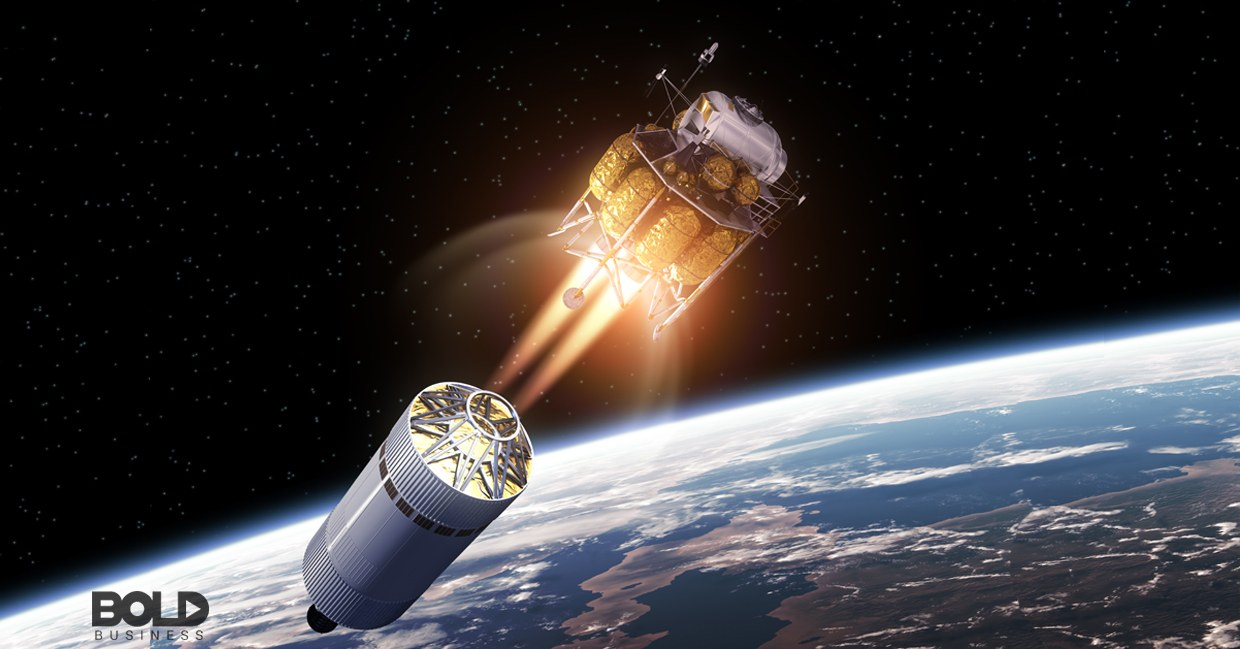 A second-stage space craft disengaging from its stage one