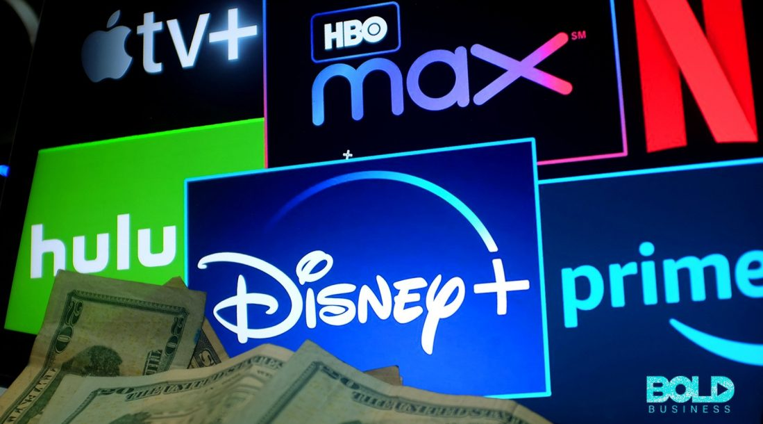 A bunch of streaming services being watched by some cash